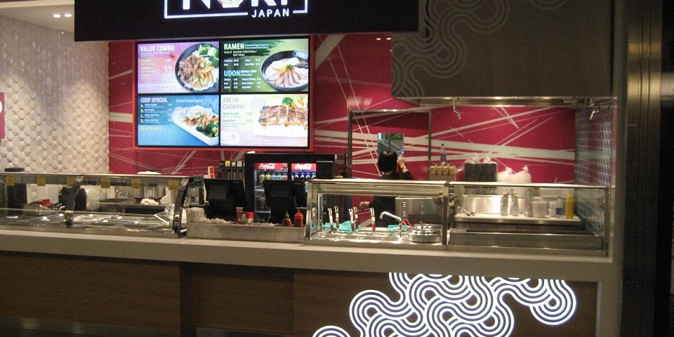 Nori Japan - Brookfield Place, Toronto, Ontario - Digital Menu Board Video Wall Impact and attract viewers showing videos covering multiple screens