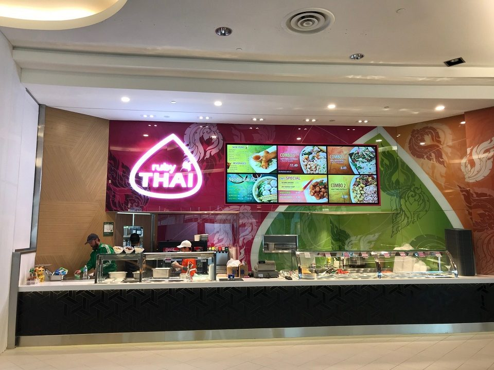 Ruby Thai - Upper Canada Mall - Newmarket, Ontario - Digital Menu Board Video Wall Impact and attract viewers showing videos covering multiple screens